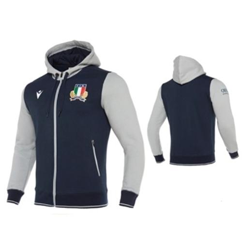 Macron Felpa Rugby Italia Blu con zip e cappuccio